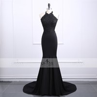 Sexy Black Mermaid Long Prom Kleider 2018 Robe de Soiree Spitze Perlen Backless Abendgesellschaft Kleider Gericht Zug Halter Engagement Kleider
