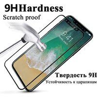 Tam Kapak Temperli Cam 9 H iphone X 8 4 4 s 5 5 s 5c SE 6 6 s 7 7 s artı 10 Ekran Koruyucu Sertleştirilmiş Film Guard Vaka Çanta