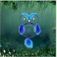 All'ingrosso Handmade Dreamcatcher Gufo Notte perline luminose Campanelli eolici Blue Feather Wall Hanging Decoration Garden Home Ornament Craft