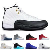 저렴한 신발 12 XII 남자 농구 신발 흰색 체육관 붉은 독감 게임 택시 플레이 오프 남작 스니커즈 스포츠 신발