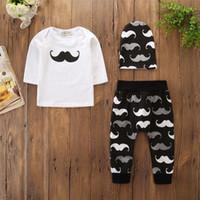 Criança Menino Roupas Set Bigode 3 PCS Roupas Infantis Outono Inverno T-shirt de Manga Longa Tops + Calças Calças + Chapéu Roupas de Bebê Recém-nascido
