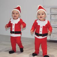 Рождество новорожденных Детская одежда устанавливает 2018 осень зима младенческой Новый год Санта костюмы 3 шт. бархат толстые детские мальчики девочки рождественские наряды