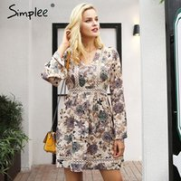 Simplee V neck floral print winter dress women Lace long sle...