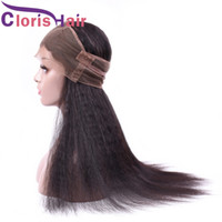Full 130% Density Coarse Yaki Human Hair Lace Frontal Closur...