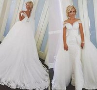 2018 Overskirts Mermaid Lace Wedding Dresses Detachable Trai...