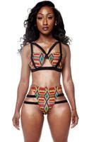 İki Adet Mayo Kadınlar Strappy Renk Blok Bandaj Ile Push Up Bikini Set Yaz Baskı Tığ Mayo Kesip