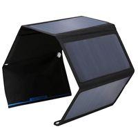 BUHESHUI 접이식 28W 태양 전지 패널 충전기 가방 듀얼 USB 포트 태양 광 충전기 아이폰 / 스마트 폰을위한 Sunpower 패널 고효율