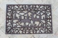 Elenco de ferro fundido Capacho Do Retângulo Elk Scrolled Capacho Acabamento Antigo Porta Decorativa Alce Artesanato de Metal Jardim Quintal Pátio Do Vintage Decoração Marrom