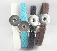 2018 Hot Sales PU Magneet Verwisselbare 18mm Dames Vintage DIY Snap Charm Button Manchet Bracelets Noosa Stijl Armbanden 15pcs / lot