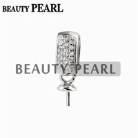 10 Pieces Round Pearl Mounting Pendant DIY Silver Findings S...
