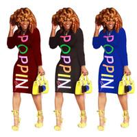 POPPIN خطابات طباعة فساتين رصاص 2018 الخريف المرأة عارضة طويلة الأكمام س الرقبة ميدي اللباس اللون الأزرق الأسود بورجوندي الحجم s-2xl