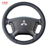 Yuji-Hong Чехлы для рулевого колеса из искусственной кожи для Mitsubishi Pajero, сшитые вручную, черный