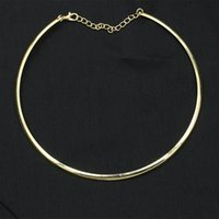 1 stück neue punk einfache runde kreis drehmomente für frauen damen metall gold silber draht halskette kragen choker modeschmuck geschenk
