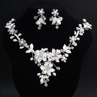 Delicate Bridal Necklace Earrings Set Sparkling Rhinestone F...