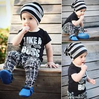Baby Clothes Infant Kids Clothing Sets Summer Autumn Newborn Baby Boys Outfits Short Sleeve Letter T-shirt Tops+Trousers Pants 2Pcs Sets
