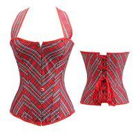 Aizen 플러스 코르셋 Bustiers 격자 무늬 복부 큰 사이즈 코르셋 빅토리아 저렴한 브로케이드 레드 고삐 코르셋 이국적인 여성 6XL