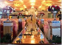 Wholesale-20M Golden Silver Mirror Carpet Lujoso Wedding Carpet Wedding Party Decoration Wedding Carpet Runner Table Decoration Gold