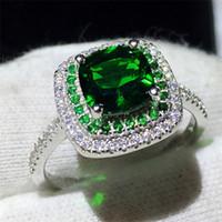 여성 패션 100 % 진짜 925 스털링 실버 반지 3ct 그린 다이아몬드 Cz 약혼 웨딩 밴드 반지 여성 보석 선물