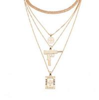 Moda multistrato UZI Collana pendenti con ciondolo a forma di croce con catena Hip Hop Miami, color oro, colore argento