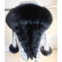 Collar genuino de plata de piel con capucha larga Casual Parkas invierno de las mujeres de piel de mapache real de la guarnición capa de la chaqueta