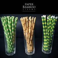 Biodegradable de bambú paja de papel Paja Verde Eco Friendly paja de papel de la bebida 25 PCS mucho sobre la promoción