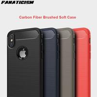 Étuis en silicone en fibre de carbone fini-finition pour iPhone 11 Pro XR XS max 5S SE 6S 7 8 plus Couvercle antichorcométrique robuste