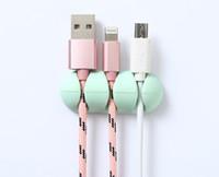 200pcs / lot Cable Organizer Silicone USB Cavi Winder Clip di gestione dei cavi flessibile Supporto per cavo per mouse Cuffia Auricolare