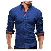 Chemise habillée 2018 printemps nouvelle marque d'affaires hommes Slim Fit hommes hommes chemise manches longues occasionnels Camisa Masculina 3XL 05