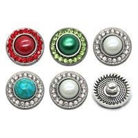 Alta calidad w272 turquesa 18mm 20mm botón de metal de diamantes de imitación para botón a presión Pulsera Collar Joyería Para Mujer Joyería de plata