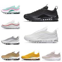 new product 8782f e40c2 avec boîte 97 chaussures Triple blanc noir rose Chaussures de course Og  Metallic Or Argent Bullet