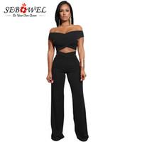 Sebowel de l'épaule Sexy 2 Set Two Set Criss Cross Crop Top et Pantalon Pantalon Summer Party Club Porter des vêtements pour femmes