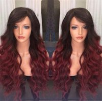 #1b 99j Burgundy Body Wavy Ombre Lace Front Human Hair Wigs ...