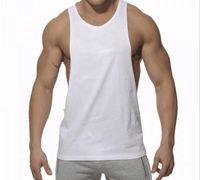 남성 탱크 탑 여름 통기성 퓨어 컬러 코튼 티셔츠 강한 남성 체육관 스포츠 러닝웨어