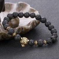 Bracciale Yoga pietra naturale Nuova sette chakra pietra di energia di leopardo braccialetto capo Stretch braccialetto intrecciato Cura rilievo pietra lavica nera