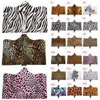 Cobertor com capuz Estampa de leopardo Adulto Crianças Sherpa Manto Animal Com Capuz De Pele Com Capuz Cobertor 3D Impressão de Alta Qualidade Xales De Lã ZYL11-13