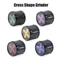 Kreuz Form Grinder Transparent Grinders Aluminium Herb Grinder 63mm 4 Teile Fase Drum Pattern Metall Grinders Sharp Steinschleifer