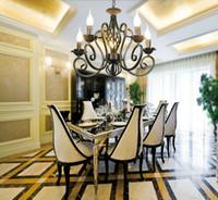 Luxus rustikale Eisen Kristall Kronleuchter Vintage antike weiße Kette Pendelleuchte Home Preis 3/5/6/8 * E14 LED-Licht