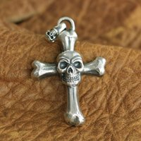 LINSION Enorme pendente in argento sterling 925 con teschio pendente da uomo Biker Punk Pendant TA124 JP