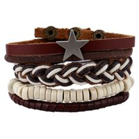 Star Decorated White Beads Bracelets Collection Weaving Twin...