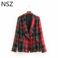 NSZ Mujeres Red Plaid Tweed Blazer Otoño Invierno Nuevo 2018 de manga larga  borla abrigo chaqueta 3a3465ca0b2f4