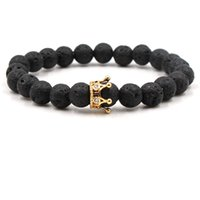 Moda 8mm Zircon Crown Lava Rock Bracciali Black Beads Natural Stone Yoga Bracciali Bangles Per regalo