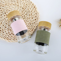 Botellas de agua de cristal 350ml con el vaso de cristal portátil al aire libre del infuser del té del filtro del acero inoxidable para el té del café