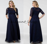 80642db24a14a Wholesale modest mother groom dresses for sale - Group buy Navy Blue Leona  Lace A Line