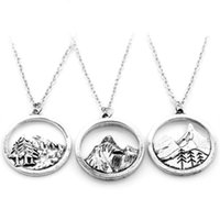 Lovely round pendant Pine Tree charm under the mountain neck...