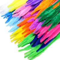 100pcs / lot forma ondulata steli di ciniglia tubi pulitori giocattoli per bambini materiali artigianali fai da te per bambini creativi giocattoli educativi