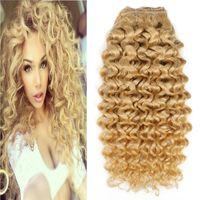 100g 브라질 곱슬 곱슬 금발의 색상 613 기계 인간의 머리카락 연장에 레미 클립을 만든 두꺼운 7pcs / 브라질 머리카락 4b를 설정 4c