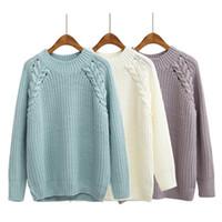 2018 Otoño Invierno Mujer Suéteres y Jerseys Sueltas Casual Color Sólido O-cuello Twist Lana Tejida Grueso Suéter S18100902
