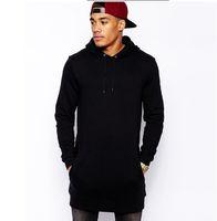 Mens Fashion Casual Lange Pullover Hut Hoodies Seitlichem Reißverschluss Einfarbig Sweatshirts Hip Hop Langarm Streetwear Männer Tops Kleidung