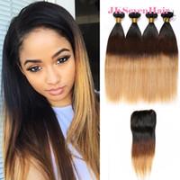 Ombre 1B-4-27 Extensions de cheveux humains de la Vierge Indian Remy 4 Bundels avec une fermeture de dentelle 4x4inch droite Brésilien Double Wefts Péruvien de Malaisie Brésilien