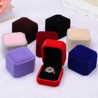 Jewery Organizer 상자 반지 / 귀걸이 스토리지 작은 선물 상자 DIY 공예 디스플레이 케이스 사각형 웨딩 / 등 벨벳
